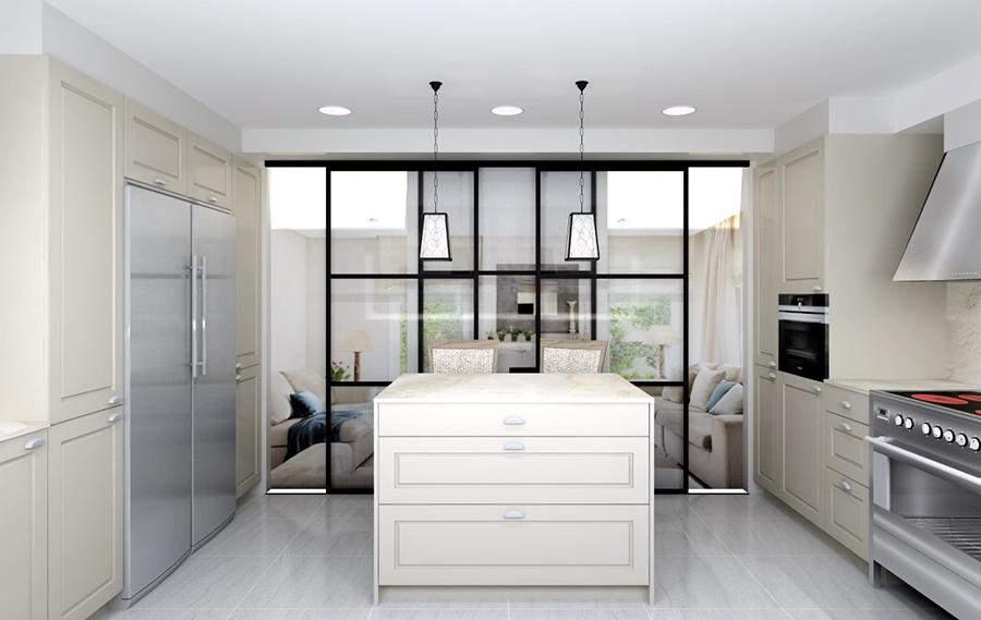Una cocina blanca con cerramiento de cristal